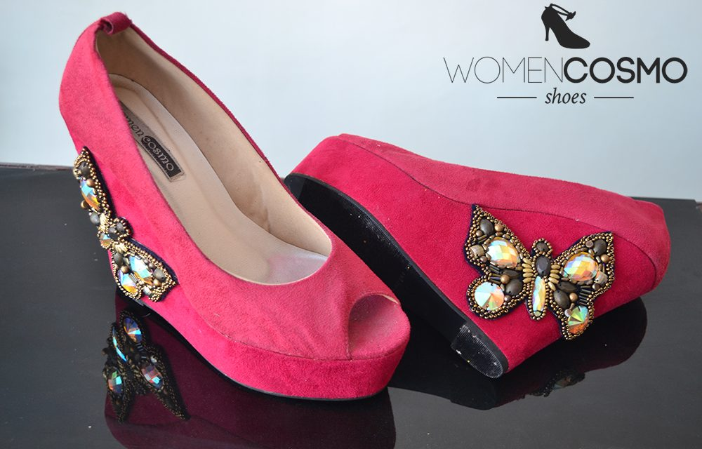 Red butterfly Wedges shoes