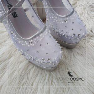sepatu pengantin silver