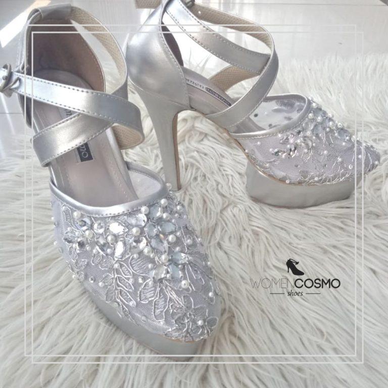 sepatu pengantin wanita silver