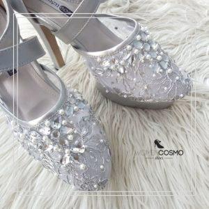 sepatu wanita silver